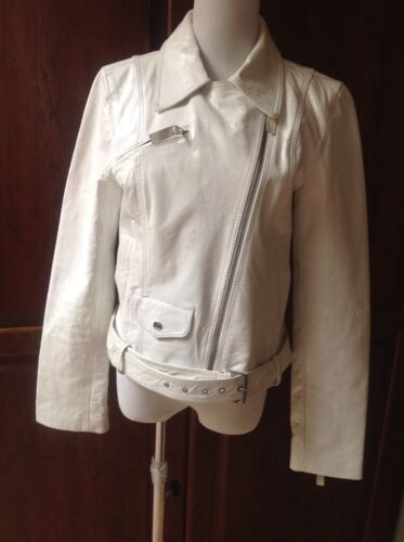 Medium Hvid Dame Bæltet K yen Jakke Læder Størrelse 40H5qzw