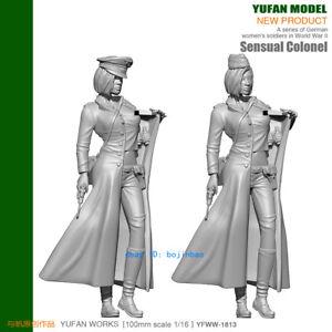 1-16-Scale-German-Woman-Soldier-WWII-Unpainted-Model-Kits-YUFAN-Model-90mm-H-New