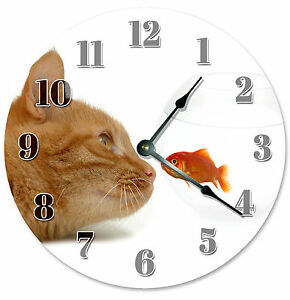 GOLDFISH-FISH-BOWL-AND-ORANGE-CLOCK-Large-10-5-inch-Wall-Clock-CAT-LOVER-2173
