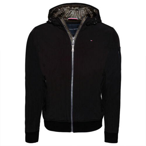 TOMMY HILFIGER MENS JACKET SOFT SHELL BOMBER WITH CONTRAST BIB AND HOOD 155AP223