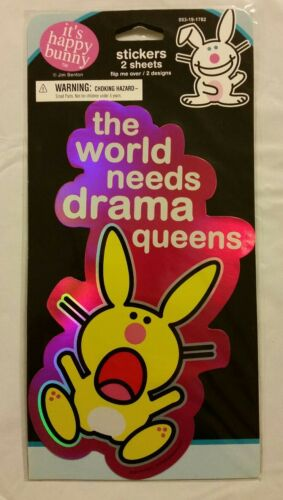 HAPPY BUNNY GIRL/'S FOIL REFLECTIVE FASHION STICKERS THE WORLD NEEDS DRAMA QUEENS