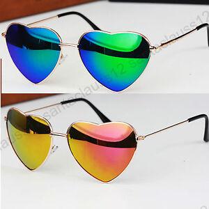 Forma cuore occhiali da sole lenti a specchio montatura metallo uv400 donna ebay - Specchio a cuore ...