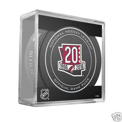 ARIZONA COYOTES Phoenix 20th Anniversary 1996-2016 Logo NHL OFFICIAL GAME PUCK