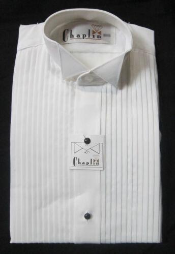 New White Mens 2XL Wing Collar Tuxedo Shirt Butterfly Tip Mason Wedding Prom