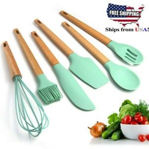 Silicone Wooden Spatula Soup Spoon Colander Shovel Cooking Utensils Kitchen Tool