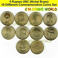 Very Rare 10 Different Nickel Brass 5 Rupees Commemorative Five Rupees UNC Coins