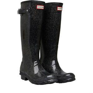 Details About Hunter Women S Original Rain Boots Starcloud Tall Black Multi Glitter Sz 6 Nib