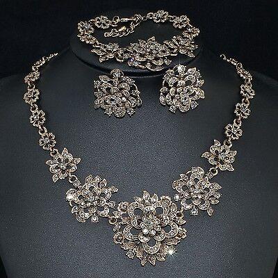 V36 VF Vintage Gray Crystal 18K GP Flower Earrings Bracelet Necklace Set
