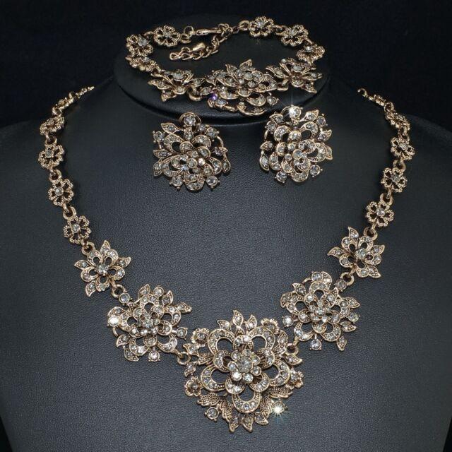 V36 Vintage Gray S. Crystal 18K GP Flower Earrings Bracelet Necklace Set Ring 7#