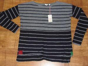 BNWT-Stunning-White-Stuff-Striped-Cotton-Mix-Jumper-8-14-black-grey-dipped-hem