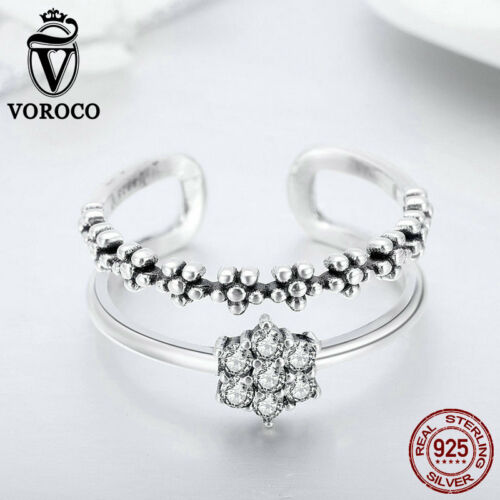 Voroco double couche argent sterling 925 Doigt Anneau pour Pretty Girl Jewelry