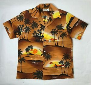 Kaikamahine-Honolulu-Men-Short-Sleeve-Button-Front-Medium-Hawaiian-Aloha-Shirt-L
