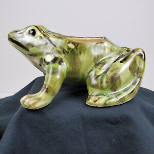 Vintage-Pottery-Frog-Planter-Mottled-Green-Color-5-3-4-034-long-BRUSH-McCOY