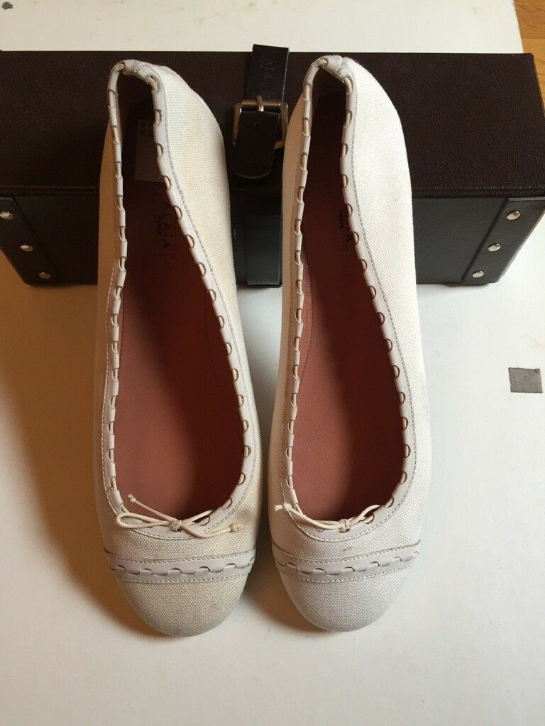 Alaia White canvas flats , New with Box, size 40