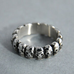 Stacking Skull Ring Vintage Biker Punk Mens Gothic Jewelry