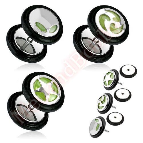16G 6mm Logo Glow In The Dark Cheater Fake Ear Plug Body Piercing Jewellery