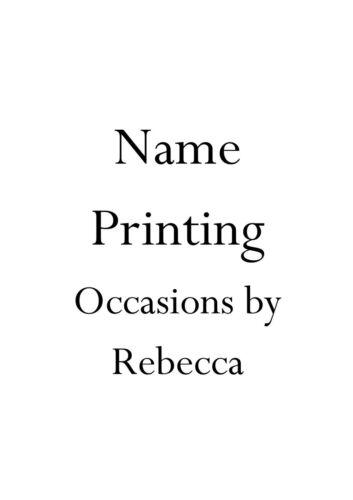 Les clients des noms de l/'impression sur invitations acheté de reprises par Rebecca en années 10