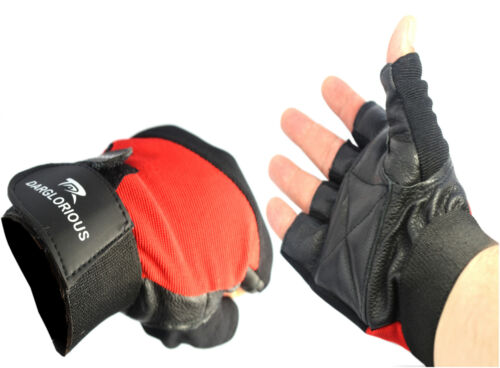 Weight Lifting Gloves Leather Mens Padded Wrist Strap Workout Gym Grips Wraps
