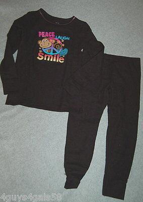 GIRLS Thermal Long Underwear Set XS S M L XL BLACK Monkey PEACE SIGN LAUGH SMILE