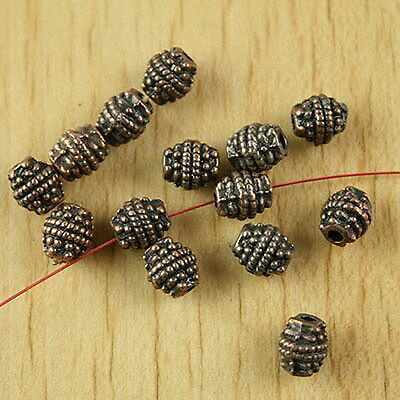 34pcs copper-tone studded oval spacer beads H2107