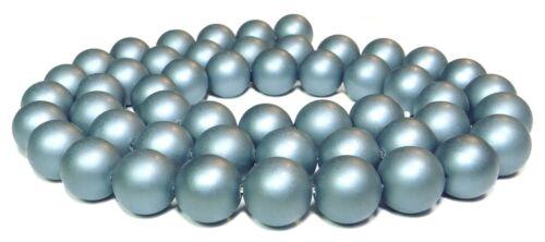 Muschelkern perles Mat Gris Bleu 8 mm boules perles strang muk-10