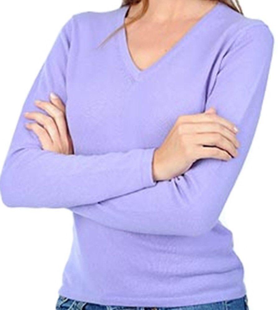 Balldiri 100% Cashmere Damen Pullover 2-fädig V-Ausschnitt lavendel L