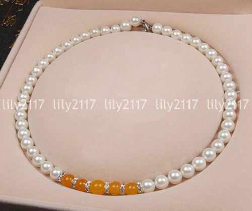 8-10 mm blanc Akoya Shell Pearl /& TOPAZE pierres précieuses Perles rondes collier Bracelet set AA