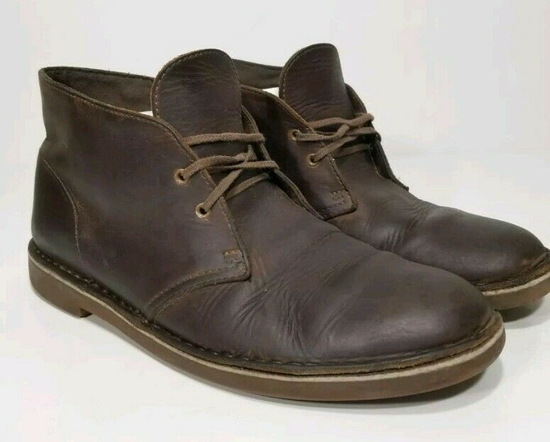 CLARKS BUSHACRE 2 82286 BEEWAX CHUKKA LEATHER ANKLE BOOTS MENS SZ 1O M