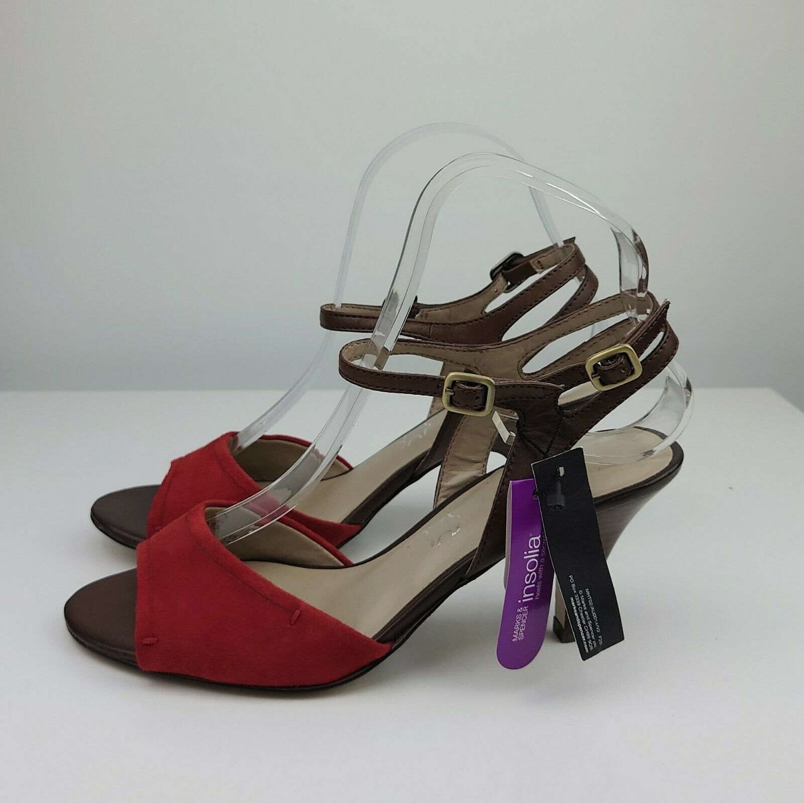 M&S Size 5.5 Brown Leather & Suede Strappy Heels Open Toe EUR 39 NEW with Tags
