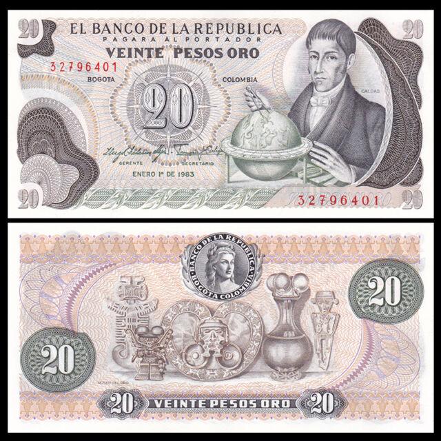 COLOMBIA 20 PESOS 1982 P 409 UNC LOT 5 PCS