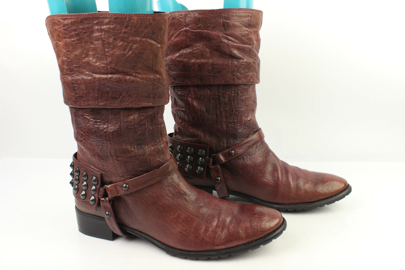 Bottines NATYSA Cuir Clouté Prune T 39 --  40 TBE