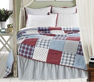 American Star 2pc Twin Single Quilt Set Country Red