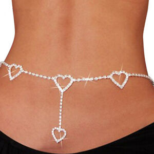 Women Heart Crystal Rhinestone Bikini Body Waist Chain Belly Beach Jewe DSXN