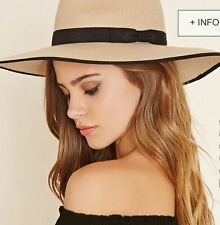 NWT Forever 21 fedora Wool Floppy tan nude Hat ribbon contrast trim taupe S/M