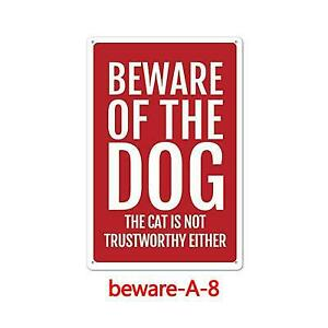Metal Sign Warning Beware of Dog Gate Cave Wall Fence Bar Shop Store Decor Home