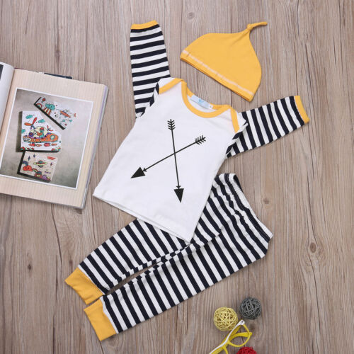 Infant Baby Girl Boy Clothes Cotton Striped Tops T-shirt+Pants 3pcs Outfits Set