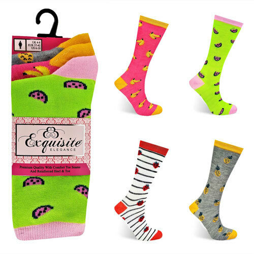 Ladies Socks Tutti Fruity Stripe Funky Socks Size 4-8 UK 4 Designs 4//8 Pairs