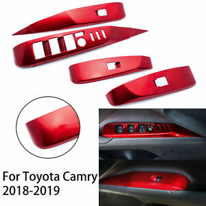 For Toyota Camry 2018 Car Inner Door Armrest Window Lift Button Cover Trim ABS