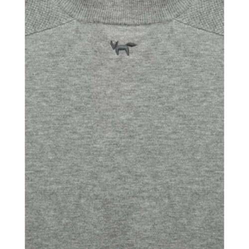 100 zip Maglione grigio fine uomo in con da Wolsey quadrata extra lana melange merino pp1qYw