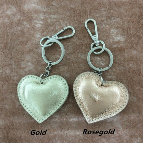 Genuine Leather Heart Shaped Keyring Bag Charm Real Leather Love Keychain Gift