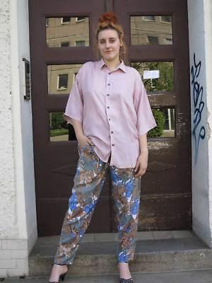 I.s.i Donna Pantaloni Leopard Viscosa Pieghe Pantaloni 90er True Vintage 90s Trousers-mostra Il Titolo Originale Altamente Lucido