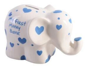 MY-1ST-MONEY-PIGGY-BANK-BOX-ELEPHANT-BLUE-ceramic-new-baby-shower-boy-girl-gift