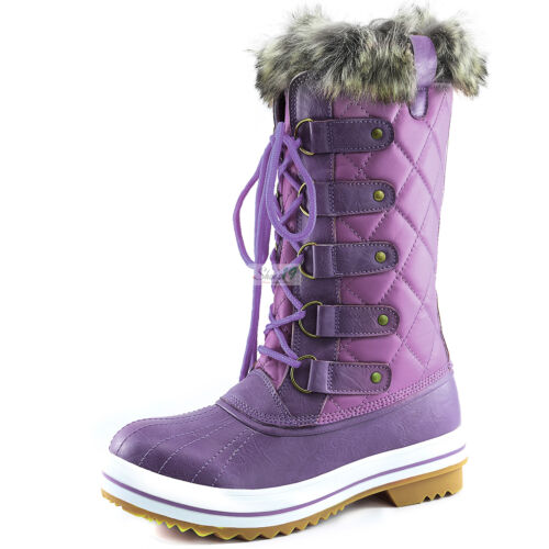 Women/'s Lace-Up Mid Calf Knee High Flat Fur Military Combat Hiking Snow Boots