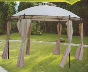 Gazebo tondo da giardino con tende e camino ebay