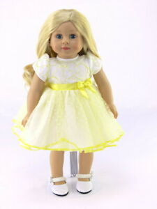 Yellow-And-White-Lace-Polka-Dot-Dress-Fits-18-034-American-Girl-Doll-Clothes
