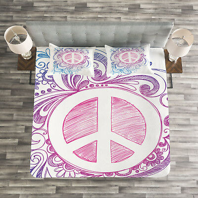Learned Groovy Quilted Bedspread & Pillow Shams Set Bedding Peace Sign And Swirls Print Buy One Get One Free Home & Garden