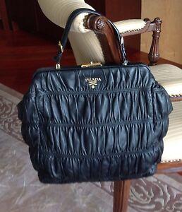 Prada Black Dressy Gaufre Nappa Leather Everyday or Dressy Bag Top ...