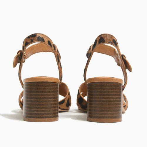 Details about  /J Crew Womens 7.5 Calf Hair Leopard Low Block Heel Sandals Brown Black Open Toe
