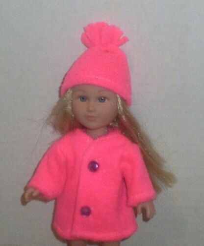 Doll Clothes-fit Mini American Girl Boy My Life-Coat /& Hat-Fleece-Neon Pink