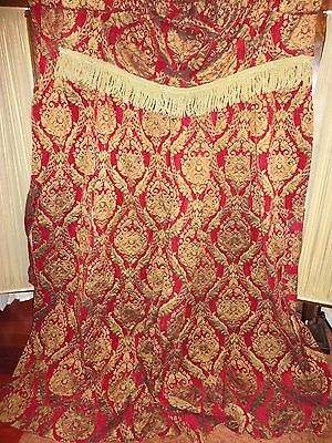 CROSCILL IMPERIAL EMPRESS RED GOLD FRINGED CHENILLE (3PC) PANELS VALANCE 44 X 25